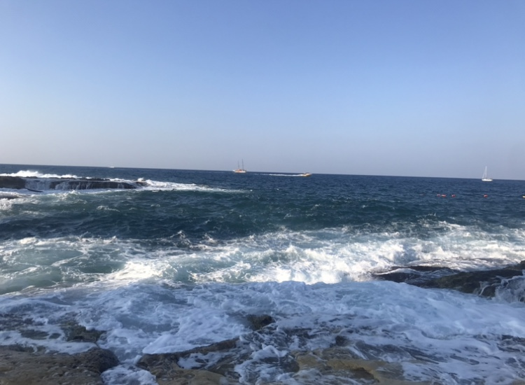 Malta sea in winter with lot of waves